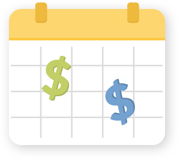 A calendar with money signs written down to show how easy it is to schedule payments.