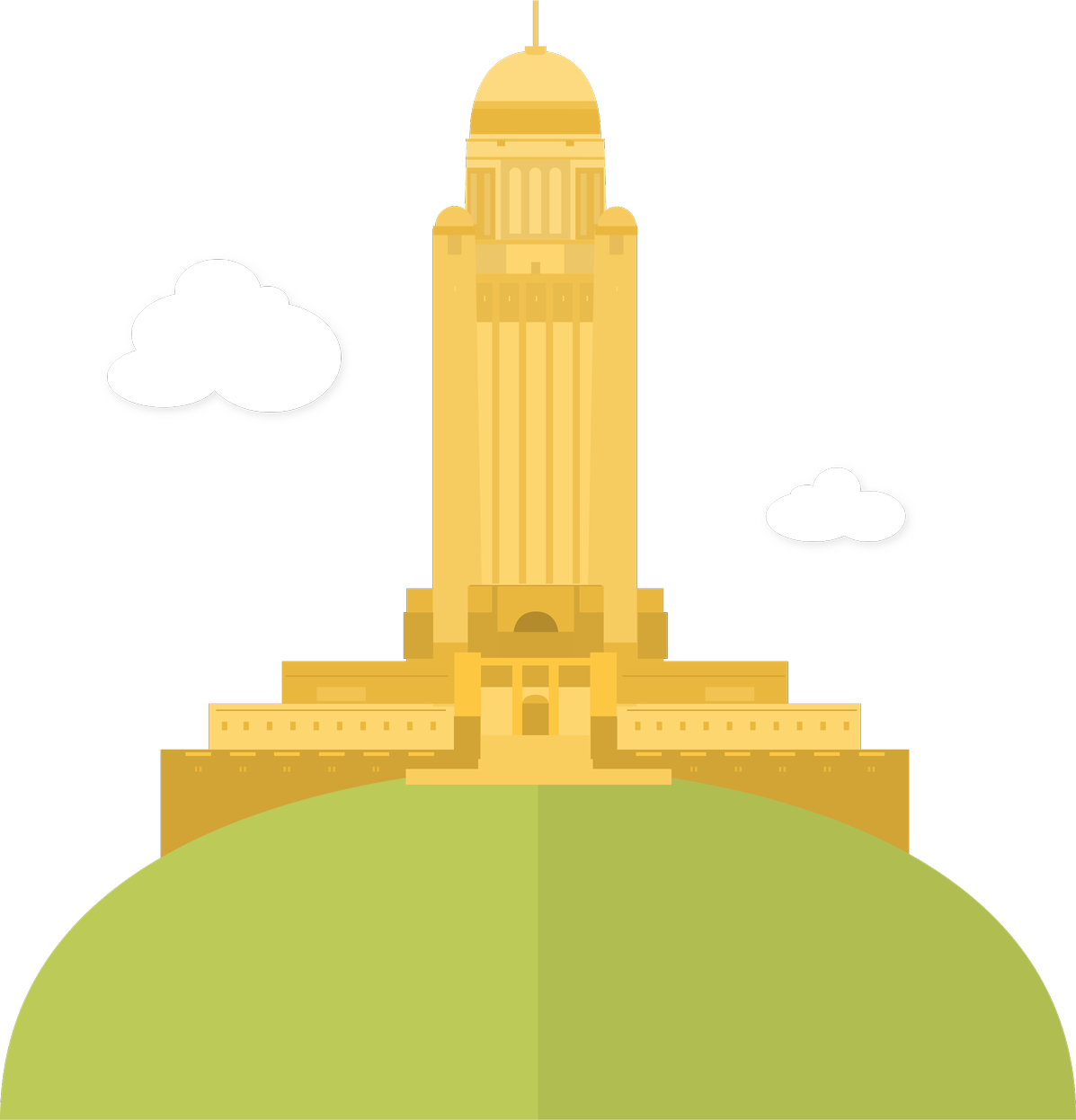 The majestic Nebraska State Capitol sits atop a grassy hill signifying our great partnership with the state.