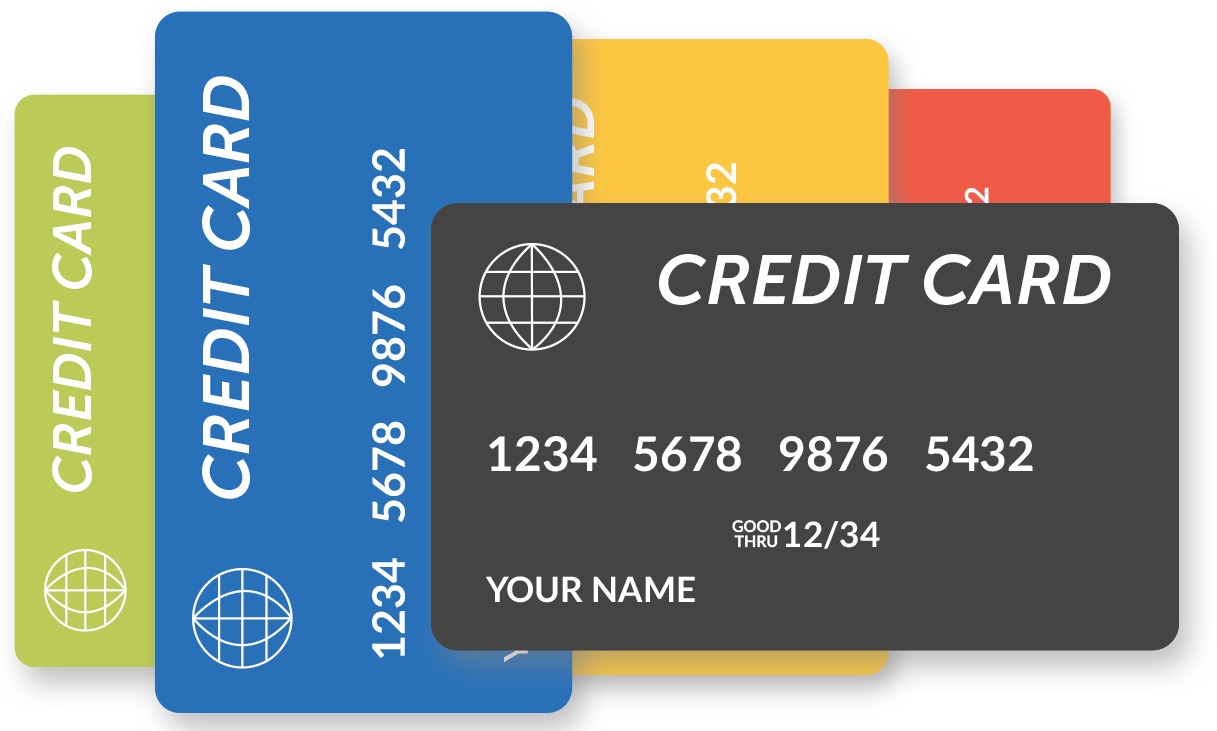 In 2014, Americans averaged 3.7 credit cards per person.  But I said, '3.7 is so 2014! Let's put 5 cards on screen!', because quite frankly, don't we all want to be above average?